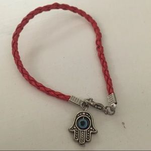 Jewelry - Red braid bracket silver Hamsa evil eye bead blue